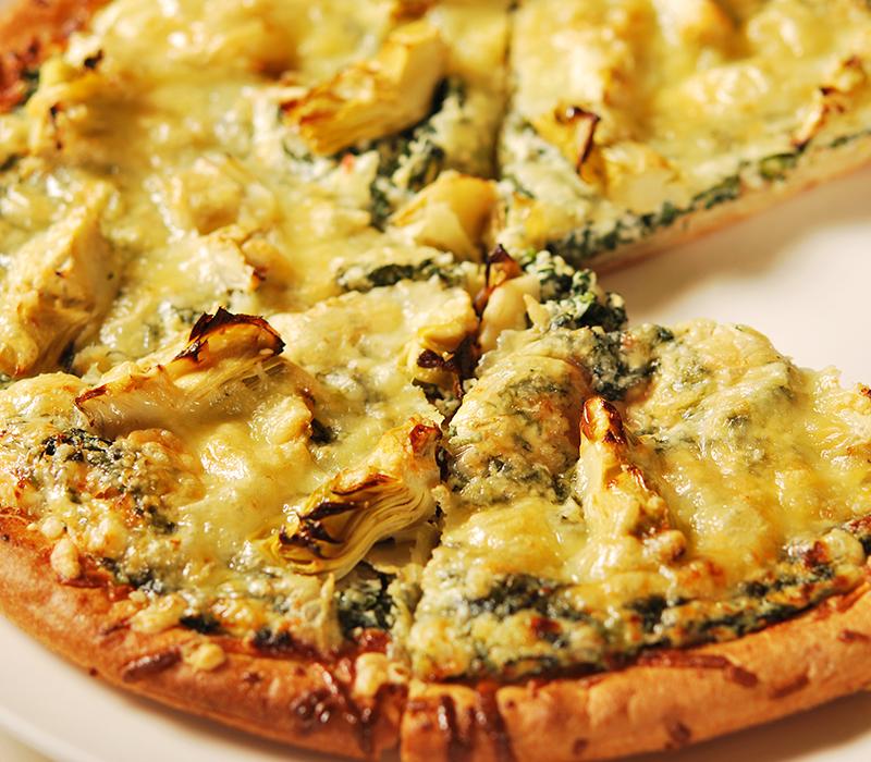 Spinach Artichoke Pizza: SPINACH AND ARTICHOKE PIZZA